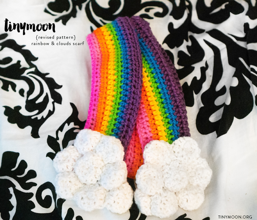 Crochet a Rainbow & Clouds Scarf Pattern With a 3D Twist! Get the Pattern FREE!