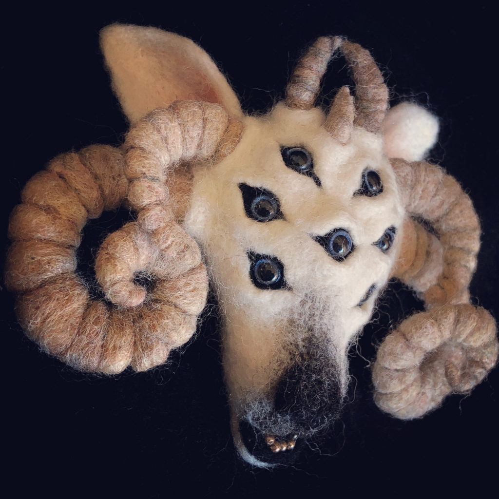 Amazing Felted Seven-Eyed Goat Inspired By The Film Altered States