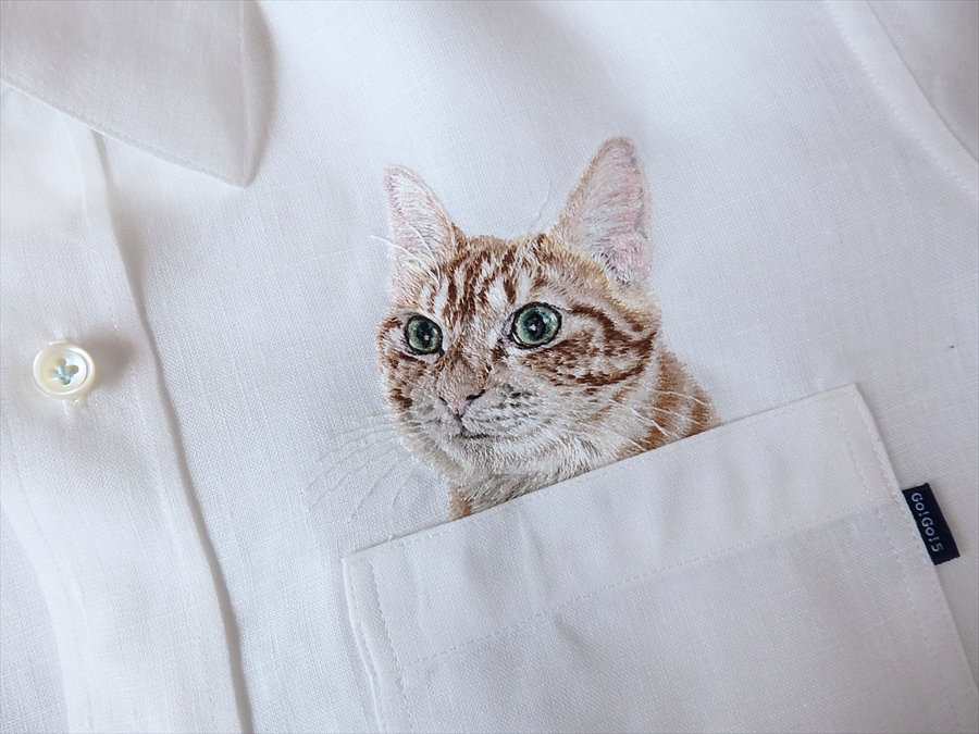 Cute! Custom-Embroidered Pets in Pockets by Hiroko Kubota