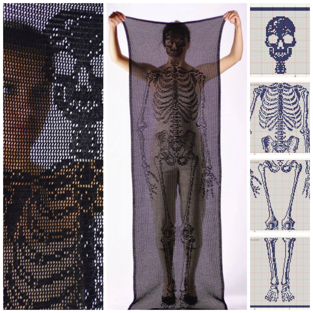 Life-Size Self-Portrait Skeleton Scarf by Fabienne Gassmann - Get the Crochet Chart