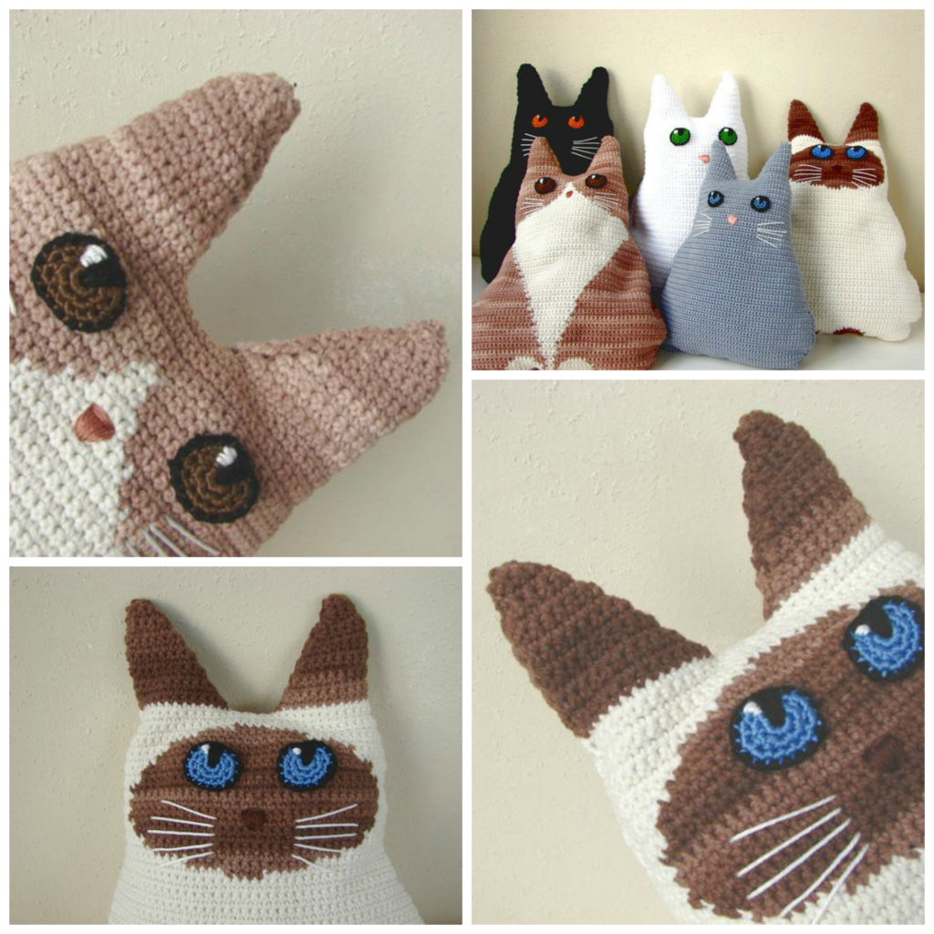 Crochet a Chipper Kitty-Cat Pillow, Unique Design, Makes a Fun Gift!