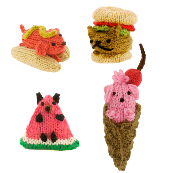 New Knit Patterns From Mochimochi Land: Teeny-Weeny Dogs Dressed Up As Food!