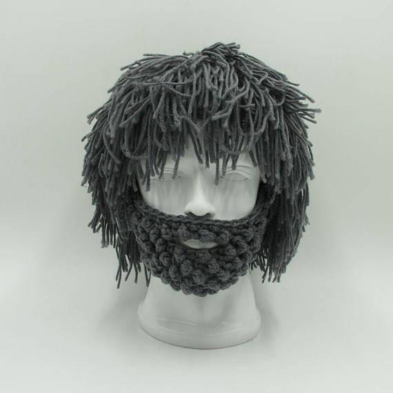 Crochet Wig Beanie with Beard