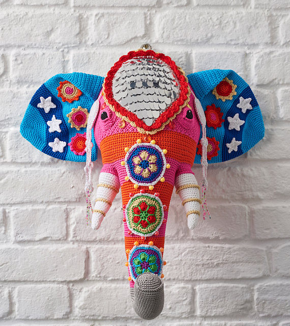 Crochet Fauxidermy at its Finest, Vanessa Mooncie's Elephant Head is Magnificent … Yes, There's a Pattern!
