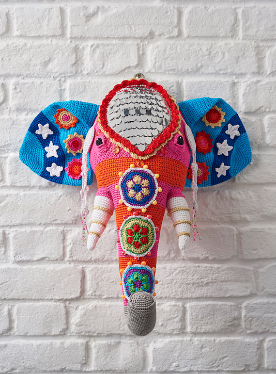 Crochet Fauxidermy at its Finest, Vanessa Mooncie's Elephant Head is Magnificent ... Yes, There's a Pattern!