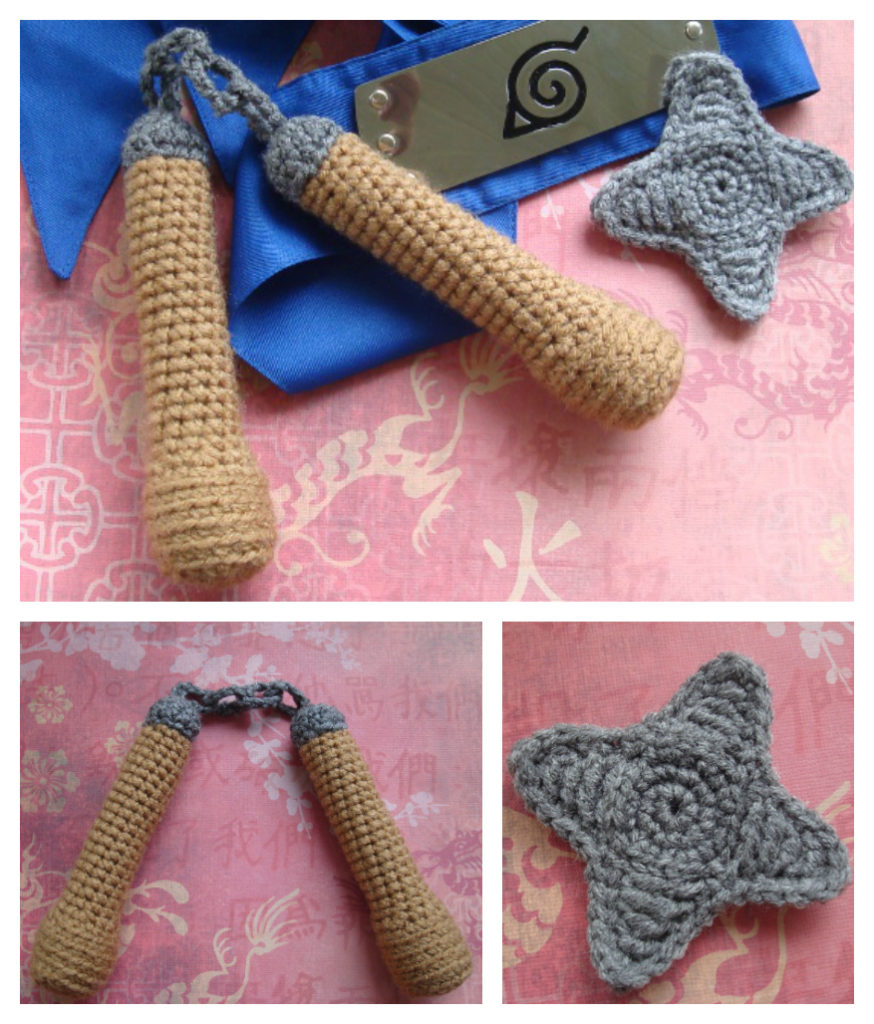 Crochet Nunchuks & Throwing Stars For Ninja Cosplay Fun - FREE Pattern!