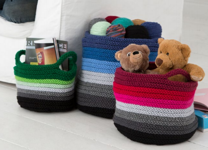 Knit a Set of Colorful Ombre Baskets, Get the Free Pattern!