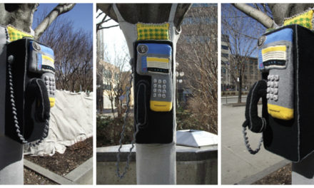 Colifichet's Knitted Telephone Yarn Bomb