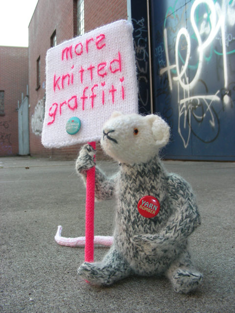 This Rat Is Calling For More Knitted Graffiti and I Totally Agree … Yarn Bombers Unite Now!