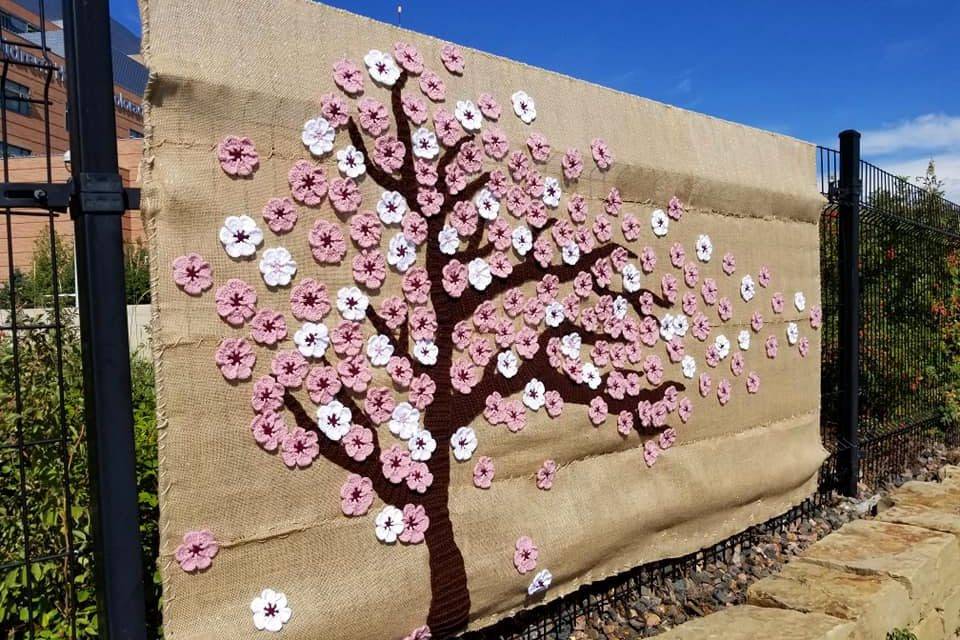 First-Class Cherry Blossom Yarn Bomb at the Children's Hospital in Denver, CO