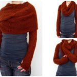 Look Great This Fall! Knit This Long-Sleeve Wrap Around Sweater Scarf – It's a Super-Shrug!
