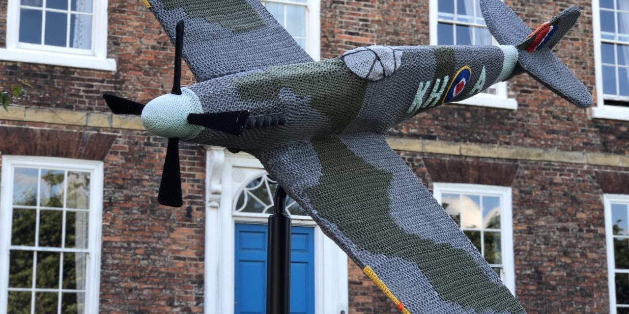 Check Out This Amazing Yarn Bombed RAF Spitfire Replica … Crochet Meets Art Again!