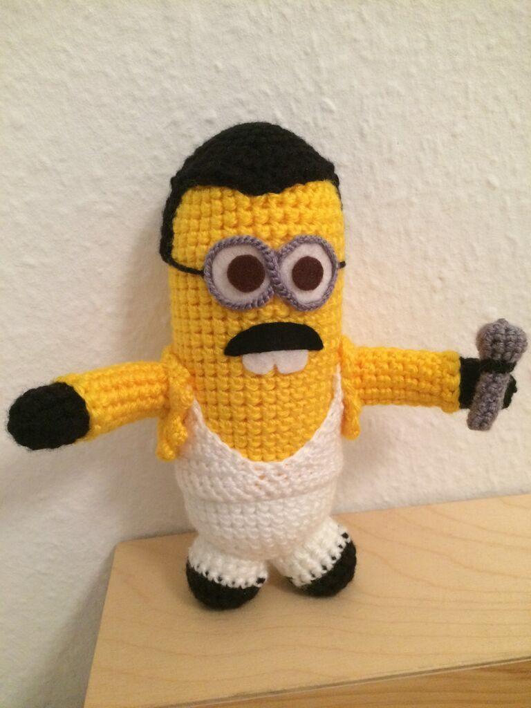 A Crochet Freddie Mercury Minion Amigurumi by @MyDadsPaintings