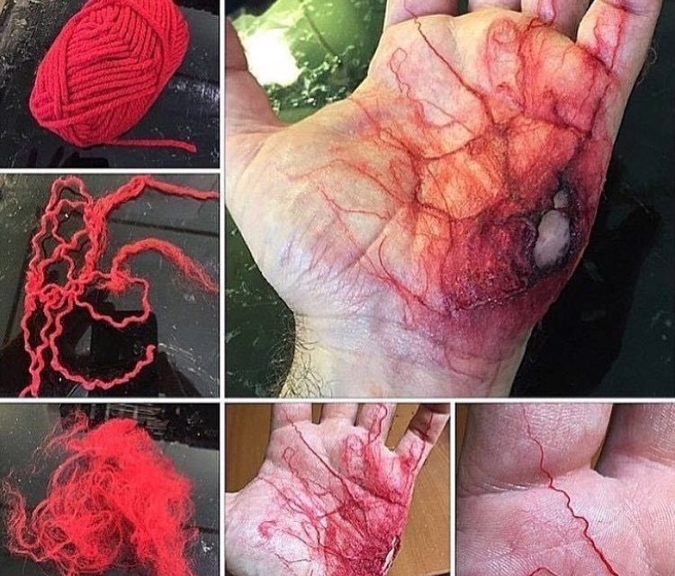 NSFW, NOT FOR THE SQUEAMISH … Realistic Wound Made With Yarn & Cotton