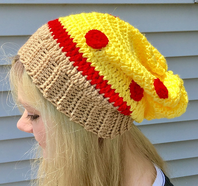 Everyone Needs a Crochet Slouchy Pizza Hat, Especially You!