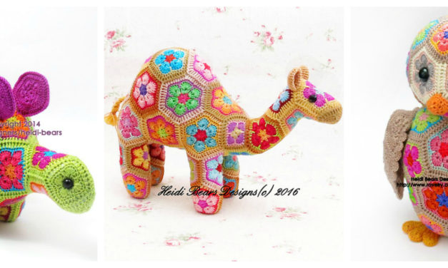 Designer Spotlight: Colorful African Flower Hexagon Crochet Motif Patterns By Heidi Bears Designs