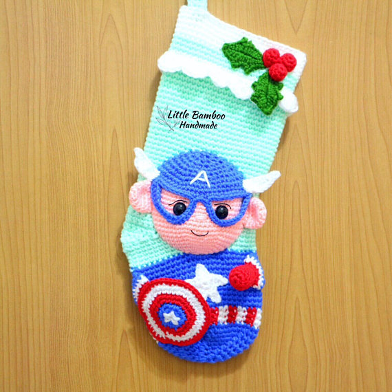 Crochet Captain America Stocking Pattern by Little Bamboo Handmade