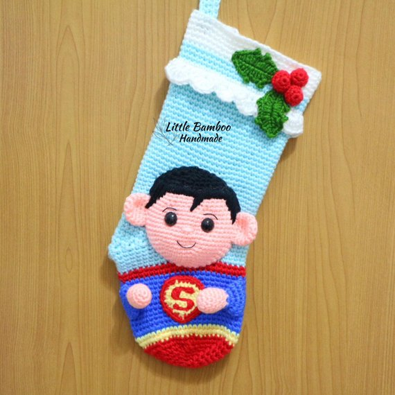 Crochet Superman Stocking Pattern by Little Bamboo Handmade