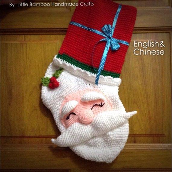 Crochet Santa Stocking Pattern by Little Bamboo Handmade