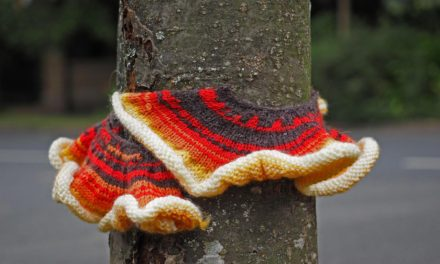 Knitted Fungus Yarn Bomb Spotted in Gurnard, on the Isle of Wight