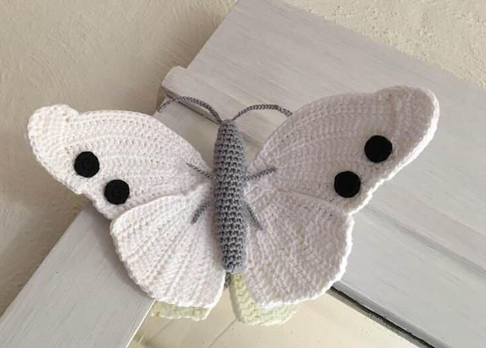 Beautiful White Butterfly Crocheted By Anna of MieksCreaties