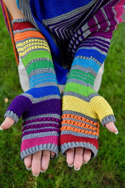 Be Relentless In These Super-Colorful, Elbow-Length Gloves By Kino Knits