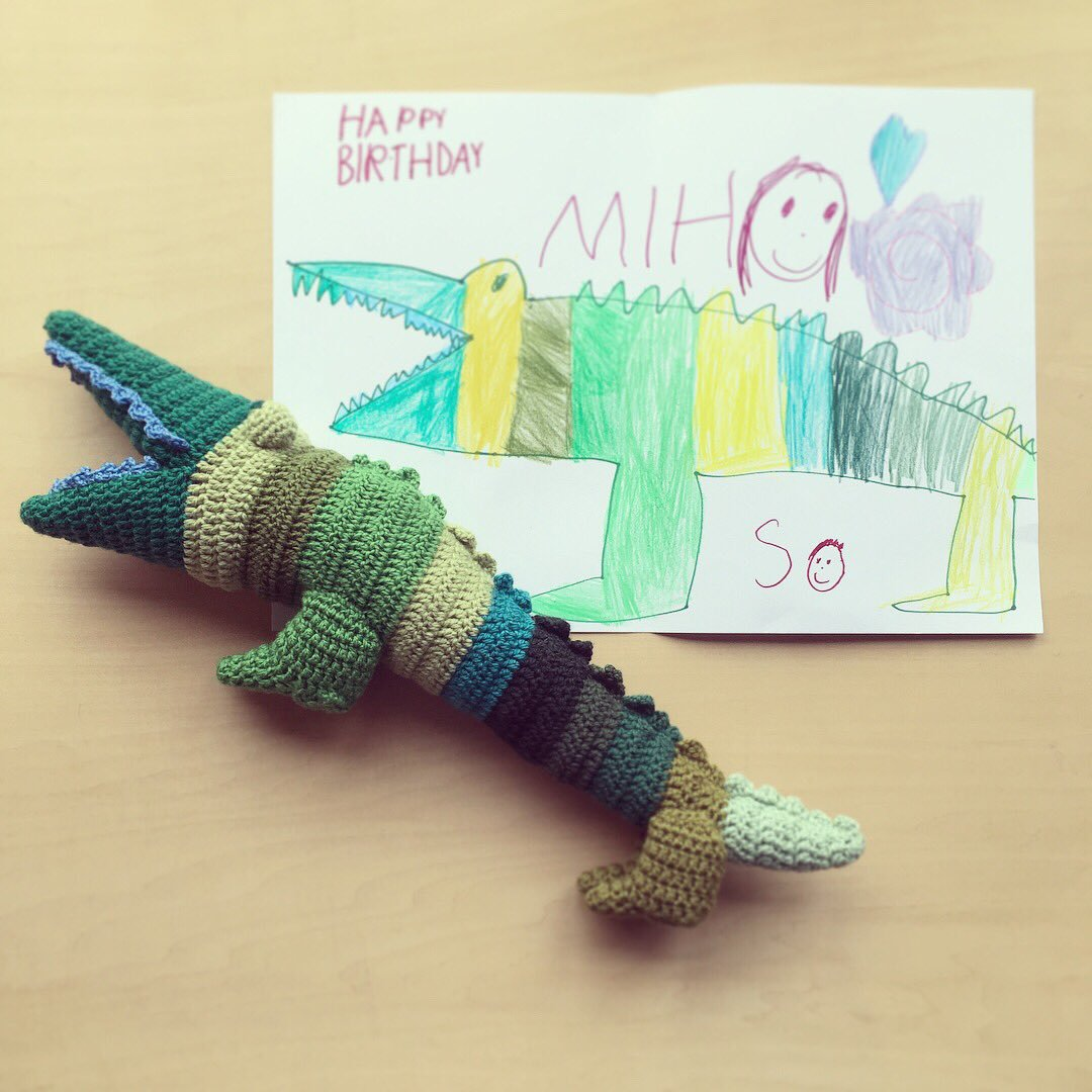Her Nephew Drew a Crocodile, She Surprised Him With a Crochet Replica For His Birthday!