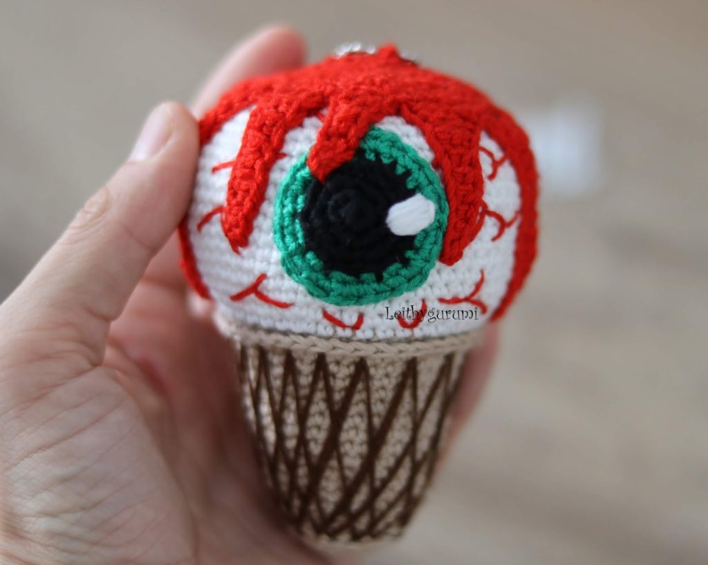 Crochet a Creepy 'Eye Scream' Cone! Get the Free Pattern From Leithygurumi