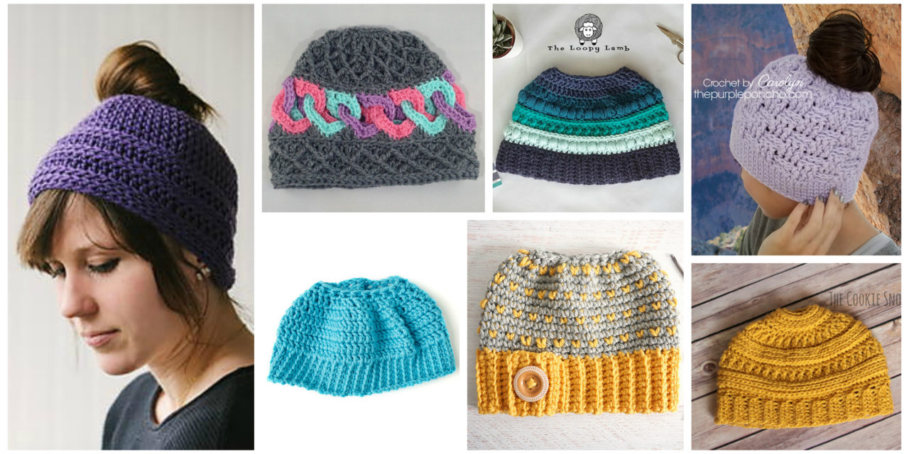 The Best Free Crochet Ponytail Hat Patterns (aka Messy Bun Beanies) – Still a Popular Trend!