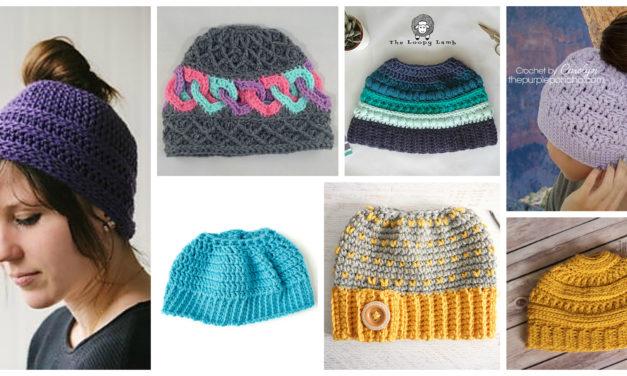 The Best Free Crochet Ponytail Hat Patterns (aka Messy Bun Beanies) – Still a Popular Trend!