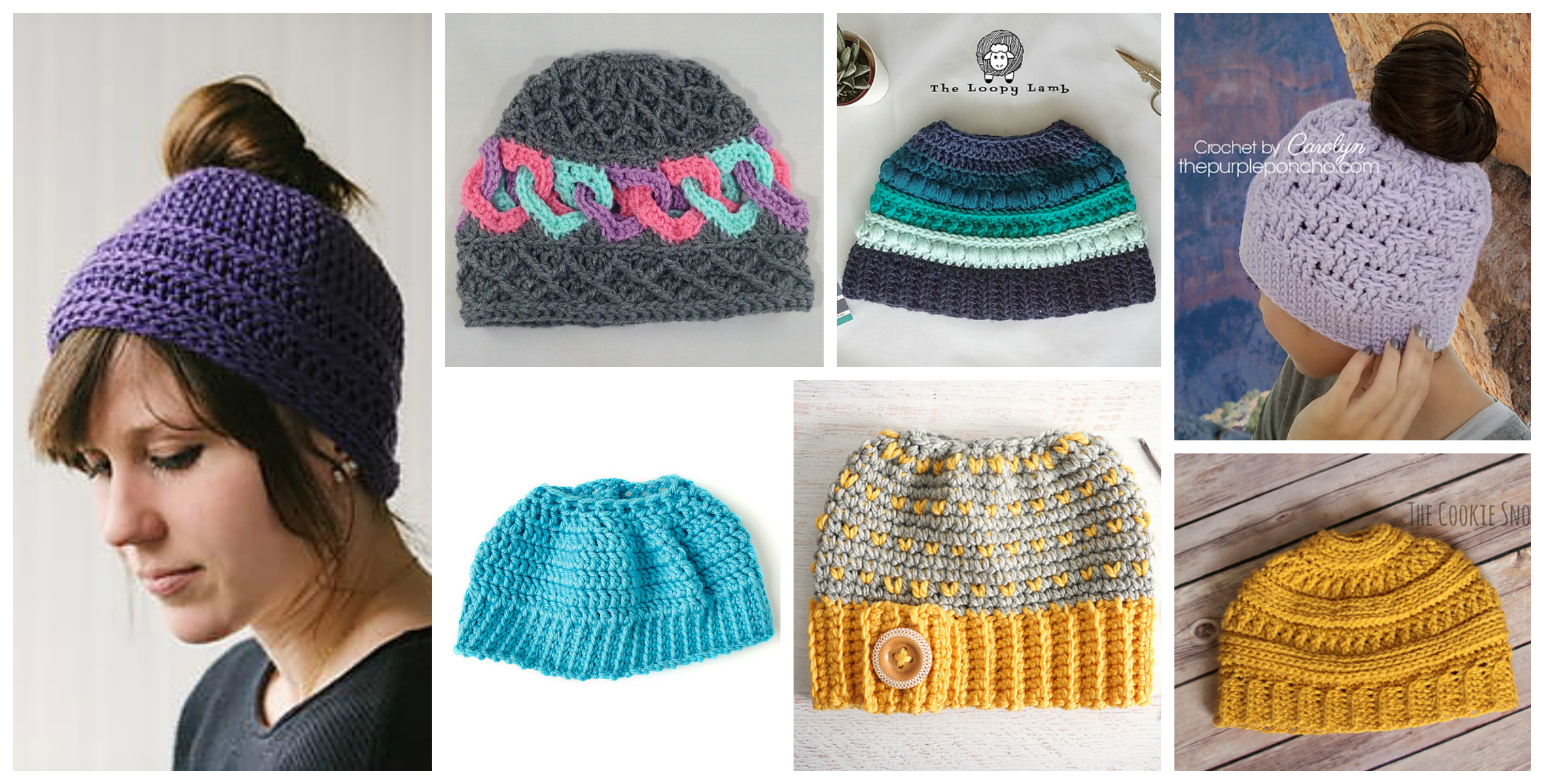 2018 Update  The Best Free Crochet Ponytail Hat Patterns (aka Messy Bun  Beanies) – Still a Popular Trend! 59dbefcc7118