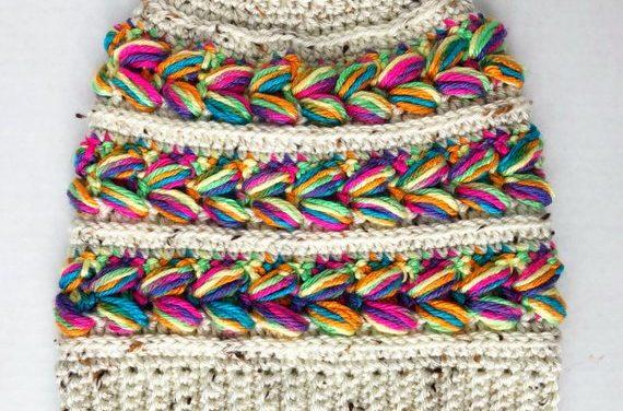 Perfect Gift Alert: Crochet a Messy Bun Rainbow Hat