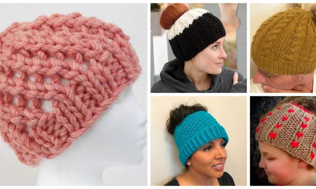 UPDATED! The Best Free Knit Ponytail Hat Patterns (aka Messy Bun Beanies) – Still a Popular Trend!