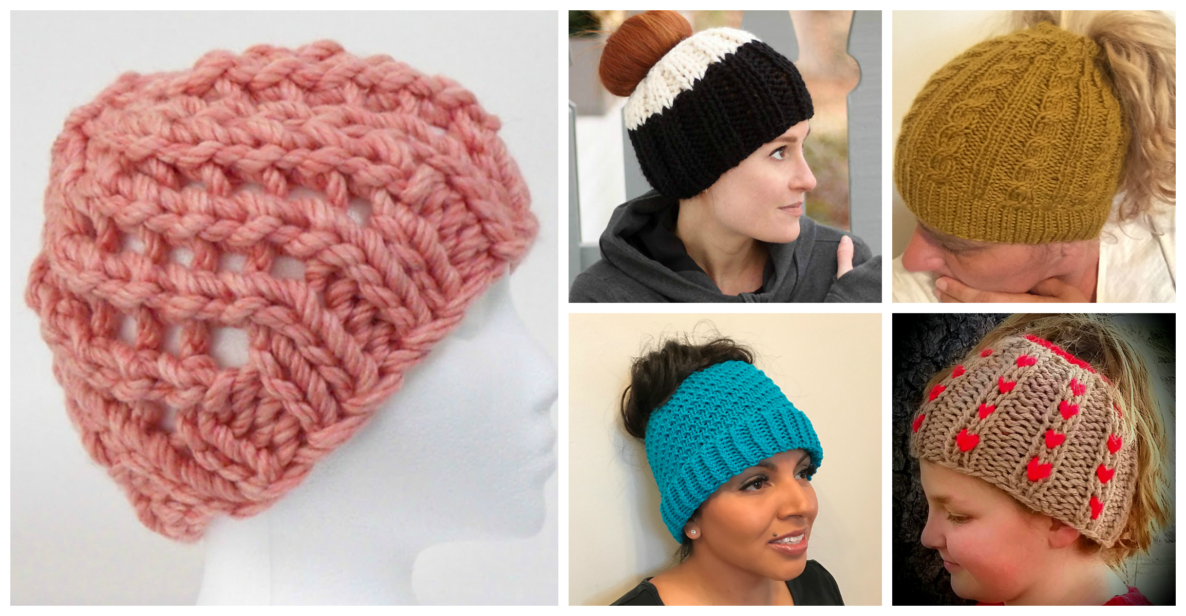 2018 Update  The Best Free Knit Ponytail Hat Patterns (aka Messy Bun Beanies)  – Still a Popular Trend! f783526bac8c