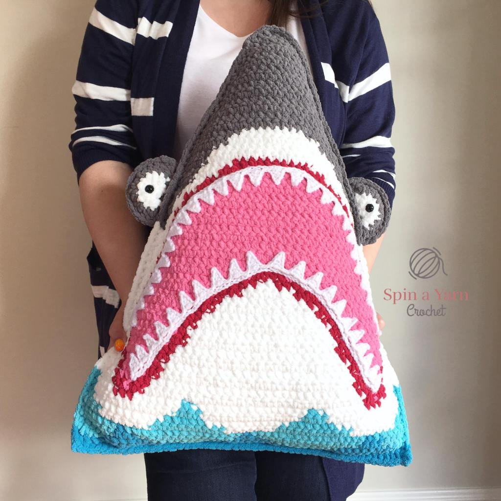 Crochet an Over-sized Shark Pillow With This Free Pattern from Spin a Yarn Crochet