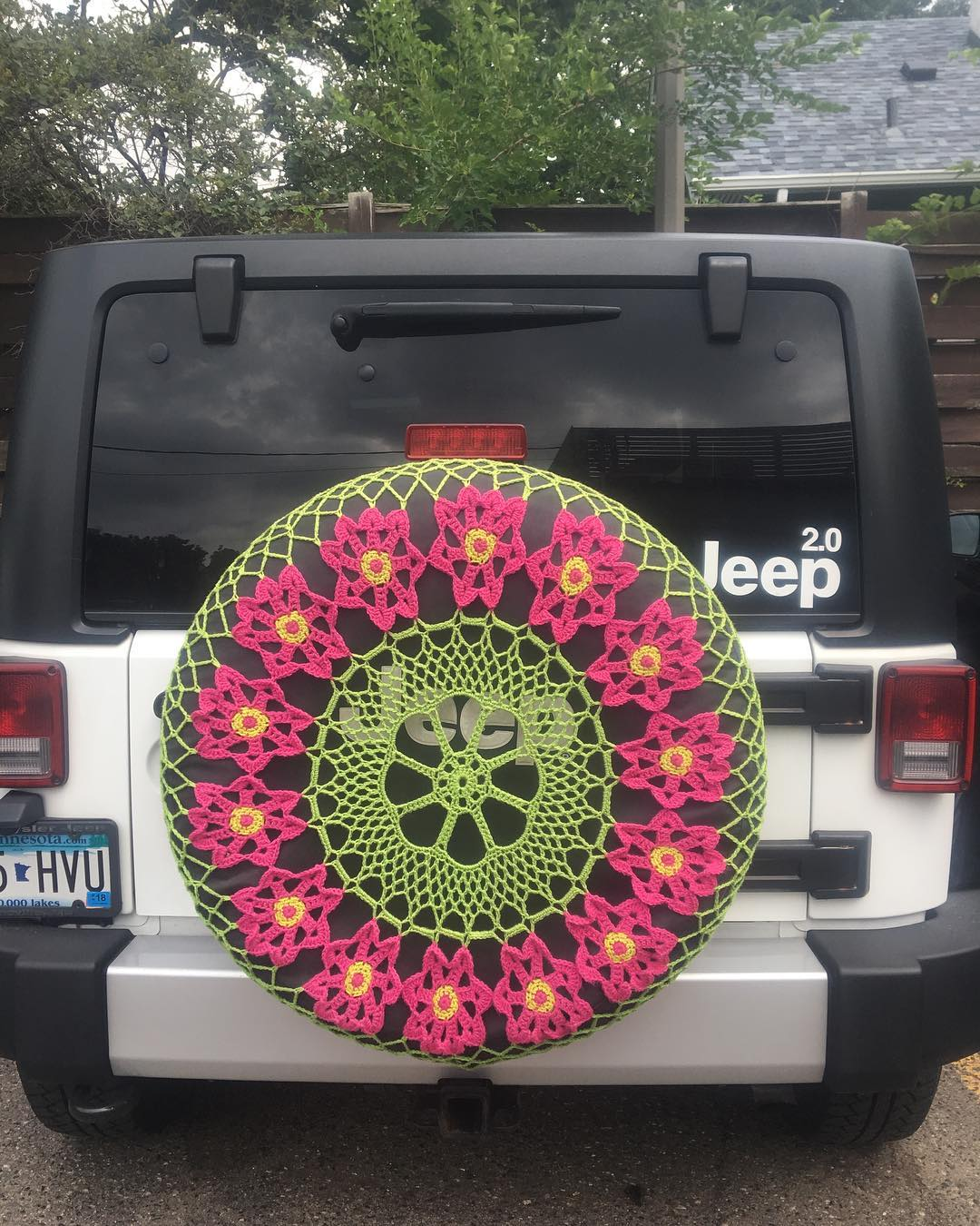 Beautiful Crochet Spare Tire Doily Spotted in Minneapolis - Lovely!