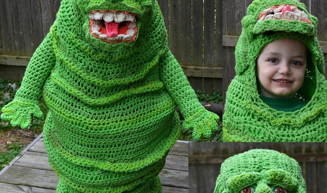 Oops, She Did It Again … This Time She Crocheted a Slimer Costume – IT GLOWS!