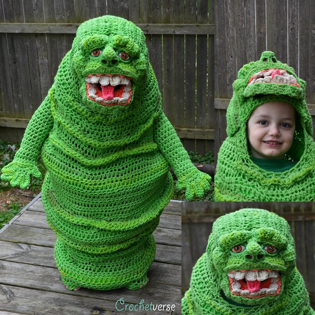 Oops, She Did It Again ... This Time She Crocheted a Slimer Costume!