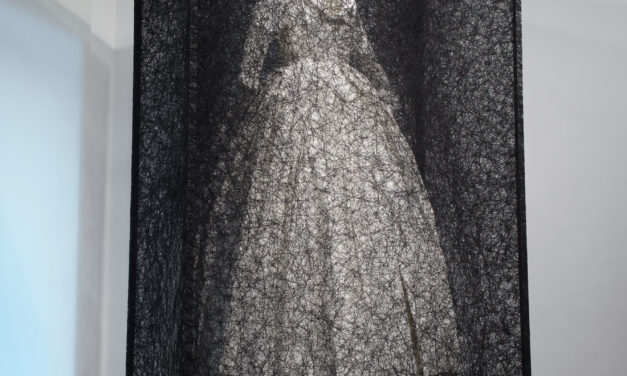 Chiharu Shiota's 'State of Being' – White Dress Entombed in a Web of Black Thread