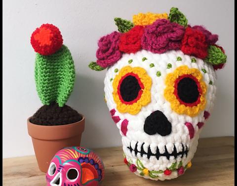 Beautiful Sugar Skull Amigurumi, Get the Crochet Pattern!