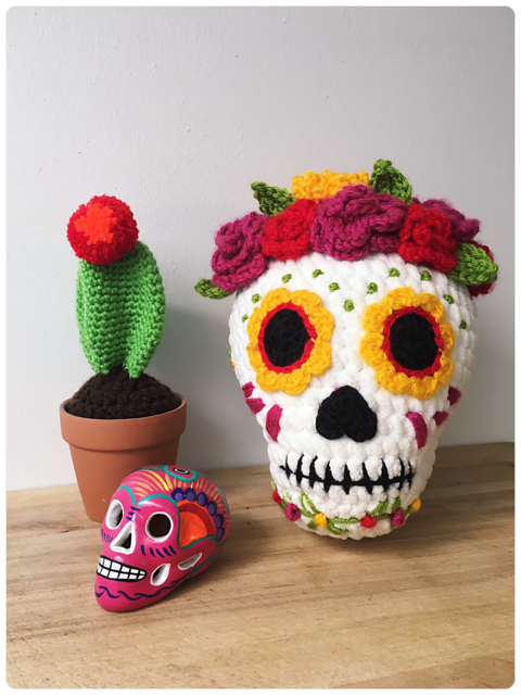 Beautiful Sugar Skull Amigurumi, Get the FREE Pattern!