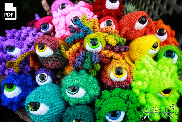Crochet an Eyeball Monster Amigurumi - So Many Variations, Add Wings, Tentacles, Horns and More!