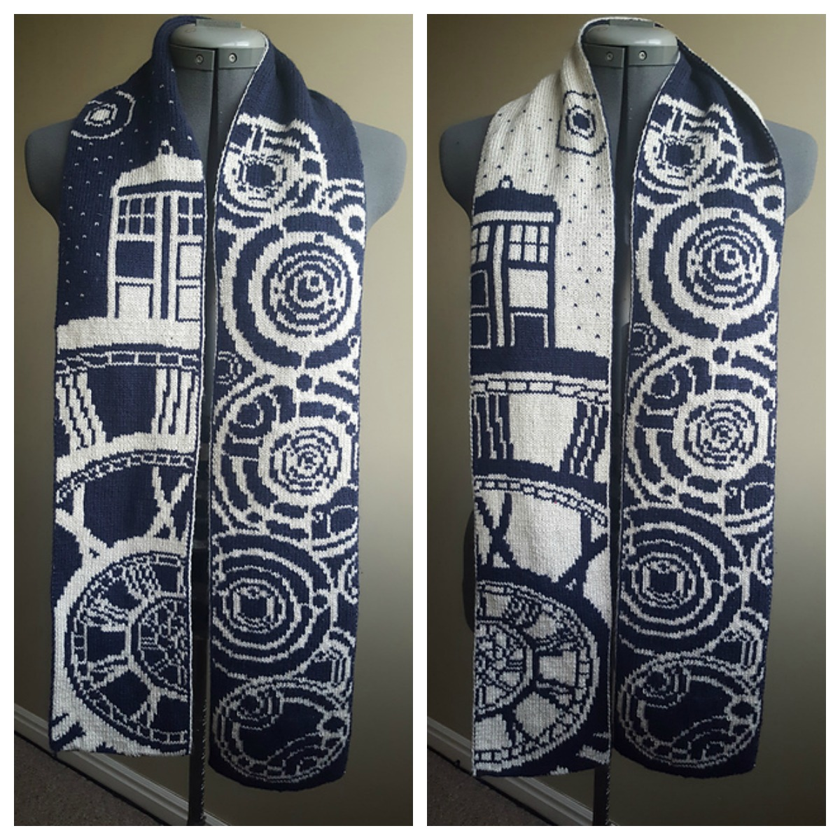 Double-Knit 'Time of the Doctor' Doctor Who Scarf Designed By Tess Campbell
