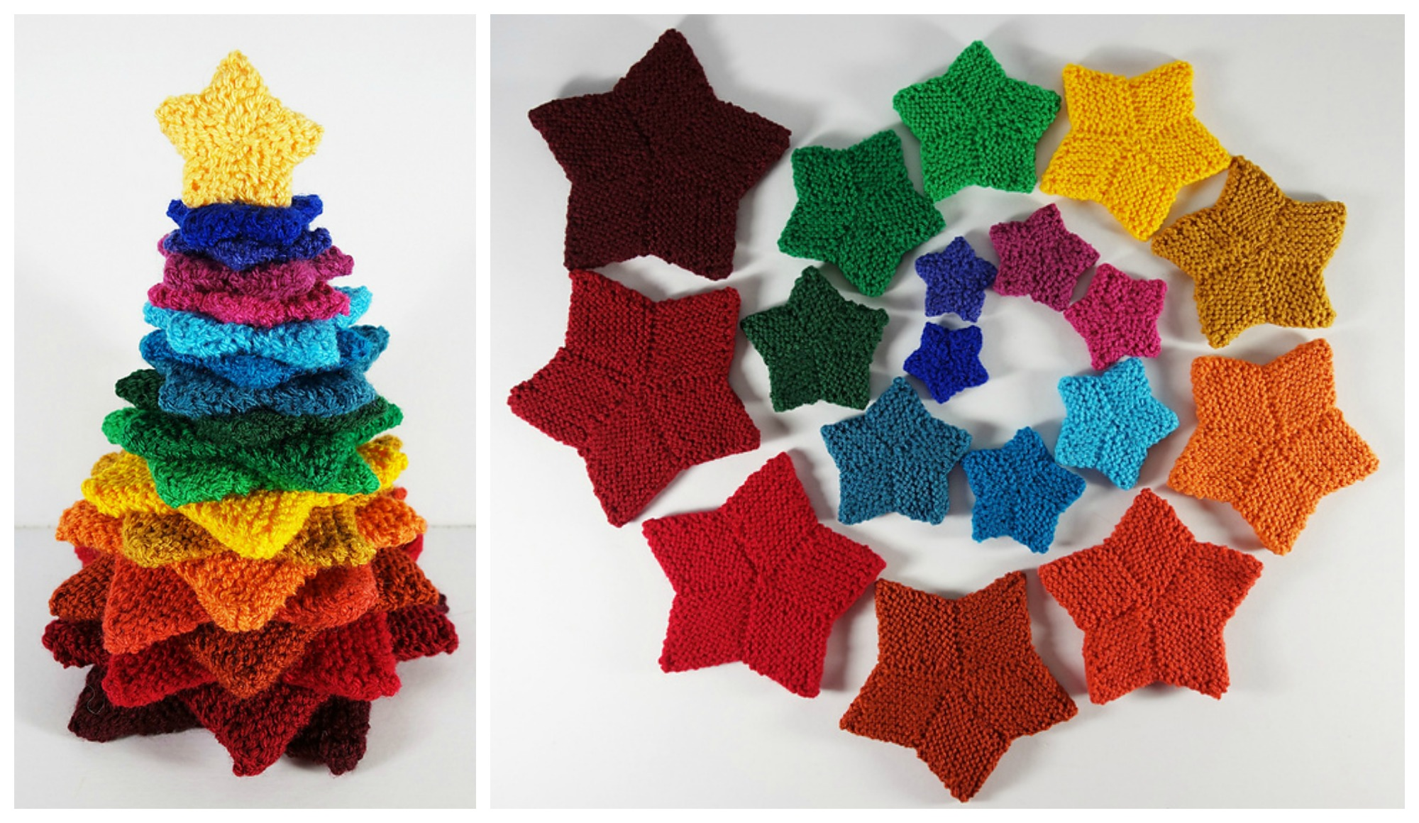 Knit a Colorful Christmas Tree With Frankie Brown's Spectacular Stacking Stars - FREE Pattern!
