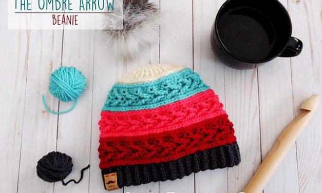 Crochet The Ombre Arrow Beanie With Colorful 'Caron x Pantone' Yarn