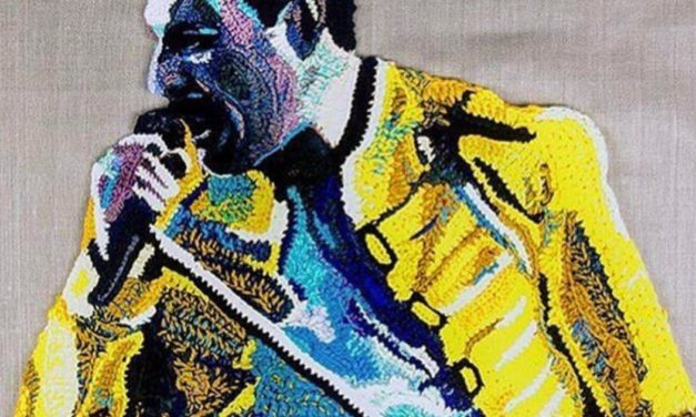 Freddie Mercury Portrait Crocheted by Katika
