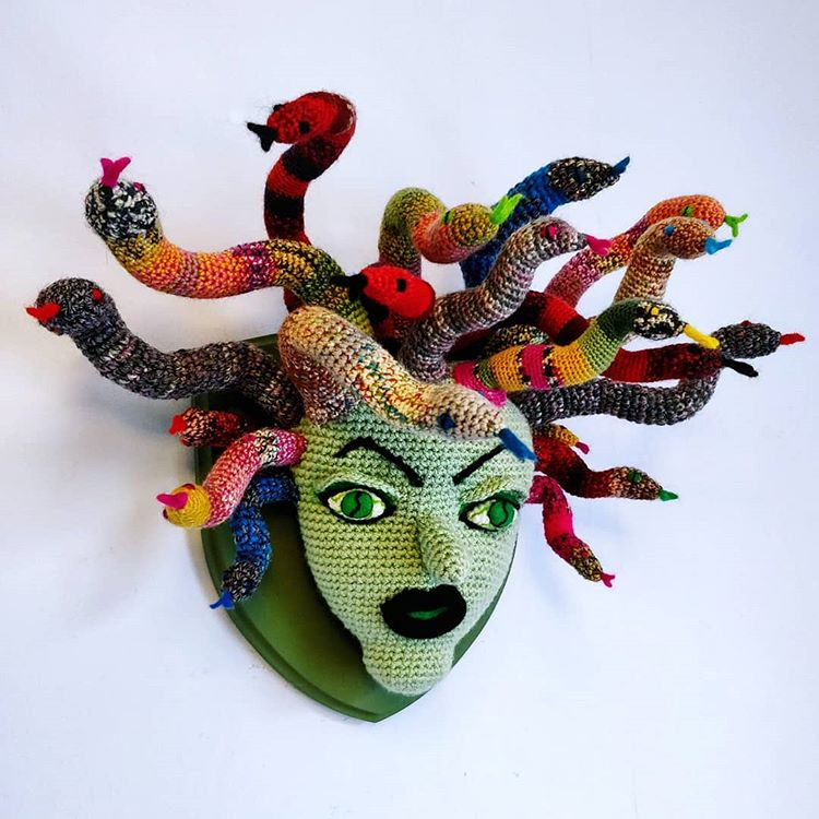 Laura Cameron's Breathtaking Medusa Trophy Head ... All In Crochet!