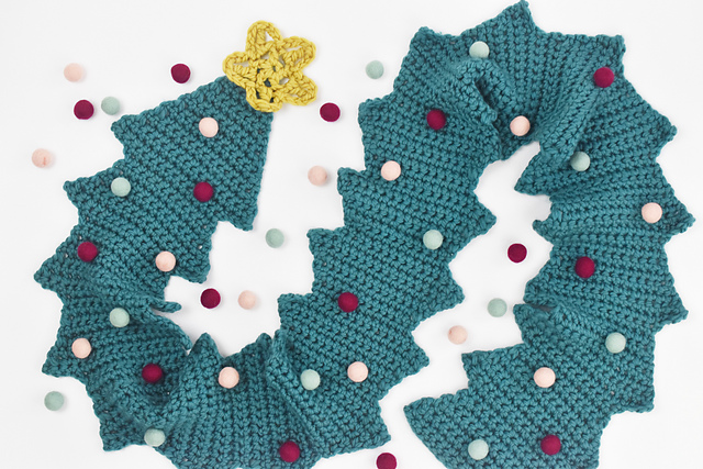 The Time Has Come To Crochet a Kitschy Christmas Tree Scarf, Designed By Mollie Johanson