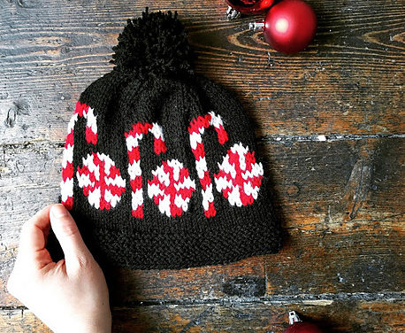 Knit a Candy Canes and Peppermints Beanie, Fun Pattern Designed by The Queen Stitch