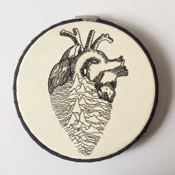 Anatomical Heart – Joy Division – Unknown Pleasures – Embroidery Mash-Up